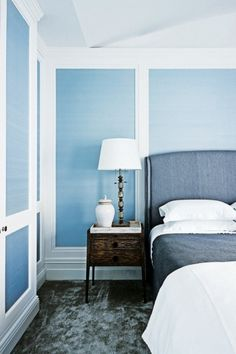 Renovation: an 1880s Sydney home receives a revamp that honours its past: In the second bedroom, the Vescom 'Sinkiang' wallpaper inserts from Eurowalls lend aParisian feel. Lamp from Quatrine; Gregorius Pineo 'Bonnaire' side table from Kneedler Fauchère; custom headboard by Thomas Hamel & Associates; and carpet from Rugs Carpet & Design.
