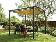 Fancy Design For Wooden Pergola Ideas. Pretty Wooden Pergola Outdoor Design with Black Wooden Pergola and Black Wooden… Backyard Shade, Backyard Canopy, Garden Canopy, Pergola Canopy, Canopy Outdoor, Sun Canopy, Canopy Tent, Fabric Canopy, Canopy Lights