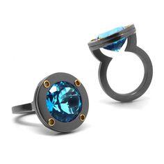 www.ORRO.co.uk - Wesley Zwiep – Blue Topaz Saturn Ring - ORRO Contemporary Jewellery Glasgow...