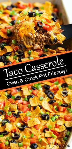 This Taco Casserole is an easy ground beef recipe that you can bake in the oven or heat in the Crock Pot! This make ahead meal can be prepared two days before baking! # Food and Drink crock pot beef Taco Casserole Ground Beef Recipes Easy, Ground Beef Meals Healthy, Casserole Recipes, Meat Recipes, Mexican Food Recipes, Cooking Recipes, Dinner Recipes, Freezer Recipes, Beef Recipes