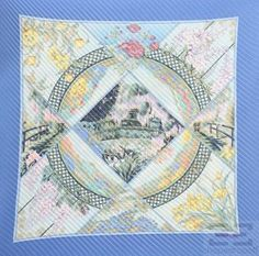 """Hermes Blue & Multicolor Silk Laurence Bourthoumieux """"Giverny"""" 90cm Plisse Scarf #Hermes"""