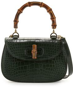 Gucci Bamboo Classic Small Crocodile Bag, Emerald Green https://api.shopstyle.com/action/apiVisitRetailer?id=512715877&pid=uid8721-33958689-52