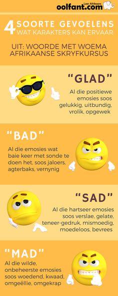4 Soorde emosies wat karakters kan ervaar  | Afrikaanse skryfkursus | Woorde met woema