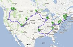 A map showing how you could drive 6872 miles for 113 hours and touch all 48 lower states + DC