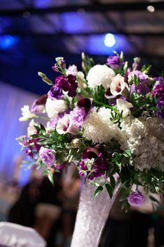 Purple and blue Disney wedding centerpiece - Disney Bridal Showcase photo recap
