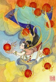 XIHE | Folklore also held that (around 2170bc) all ten sun birds came out on the same day, causing the world to burn; Houyi the archer saved the day by shooting down all but one of the sun birds.