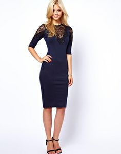Image 4 of Lydia Bright Pencil Dress With Lace Shoulder and Neck