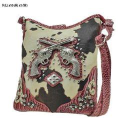 Ladies Handbag Purse Western Double Gun Rhinestone Cow Print Messenger Bag New #handbag #purse #fashion #sylink THIS ITEM IS UP FOR AUCTION