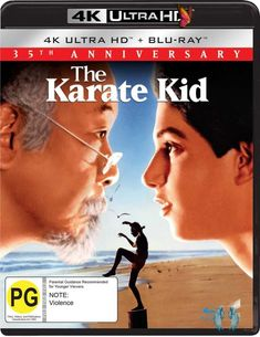 The Karate Kid (1984) (UHD Blu-ray) Only the 'Old One' could teach him the secrets of themasters.A fatherless teenager faces his moment of truth in THE KARATE KID. Daniel(Ralph Macchio) arrives in Los Angeles from the east coast and faces thedifficult task of making new friends. However, he becomes the object of bullyingby the Cobras, a menacing gang of karate students, when he strikes up arelationship with Ali (Elisabeth Shue), the Cobra leader's ex-girlfriend.Eager to fight back and… The Karate Kid 1984, William Zabka, Jealous Ex, Elisabeth Shue, Ralph Macchio, Parental Guidance, Blu Ray Movies, Moving To California, The Karate Kid