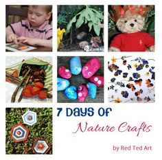 7 ideas for Nature Based Crafts for Kids to do at home or in a class.