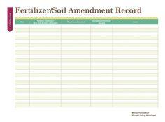 Print This Free Garden Planner: Printable Fertilizing/Soil Amendment Record
