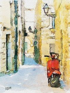 Vespa in quaint village.       Beautiful Watercolour.  Rafal Rudco