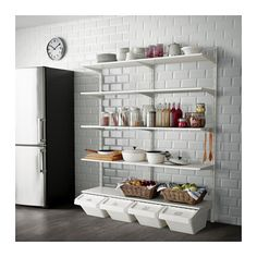 IKEA ALGOT wall upright/shelf/hook Can also be used in bathrooms and other damp areas indoors. Laundry Sorting, Narrow Bathroom Designs, Home Kitchens, Kitchen Design Small, Ikea Hack Bathroom, Shelves, Ikea, Kitchen Hacks Organization, Ikea Algot