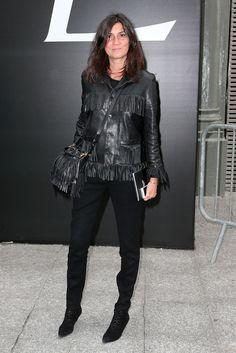 Emmanuelle Alt in Saint Laurent : Outside Arrivals - Paris Fashion Week - Menswear S/S 2015