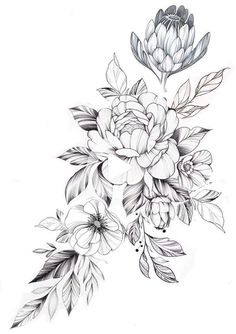 flower tattoos DopeArt by tritoan__seventhday! Tattoo artists join FREE with inkg Tattoos Tatoo Floral, Floral Thigh Tattoos, Floral Tattoo Design, Flower Tattoo Designs, Leg Tattoos, Body Art Tattoos, Sleeve Tattoos, Vintage Tattoo Design, Tattoos Skull