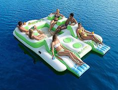 Floating Island 6 Person Inflatable Lounge Raft Pool Lake Water Sport 2 Coolers   eBay