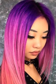 70 Tempting and Attractive Purple Hair Looks , Violet Fuchsia Ombre In A Mix With Other Colors ❤️ When you think about purple hair, you might love the look but hesitate if it fits your . Pink Ombre Hair, Brown Ombre Hair, Purple Ombre, Violet Ombre, Purple Streaks, Violet Hair Colors, Hair Color Pink, Cool Hair Color, Hair Color 2017