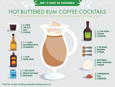 A recipe for hot buttered rum, a dollop of whipped cream, and warm coffee make the perfect after dinner party drink.