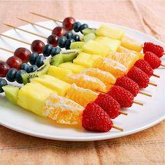 Rainbow Fruit Skewers.  Beautiful fruit speaks for itself with this easy dessert.