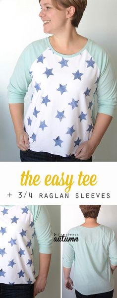 Free pattern and sewing tutorial for this easy to sew raglan tee shirt for women with three quarter length sleeves.