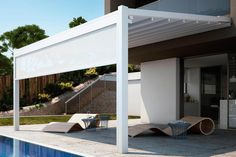 Thursday Product Spotlight: the Bergamo Pergola Cover! The Bergamo is part pergola, part awning, and it creates a wholly unique style. Learn more about this versatile sun shading option here. Diy Pergola, Retractable Pergola Canopy, Pergola Swing, Deck With Pergola, Cheap Pergola, Covered Pergola, Backyard Pergola, Pergola Kits, Pergola Roof