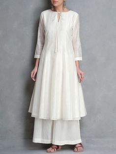 Buy Ivory Tie Up Detailed Kalidar Chanderi Kurta by Smriti Online at Jaypore.com