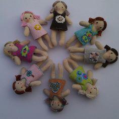 "1 3/4"" rag dolls made from felt"
