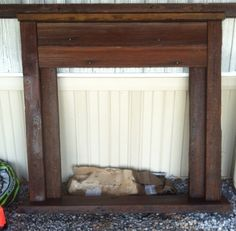 barnwood faux fireplace   Faux mantel from old wood
