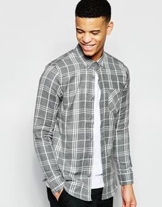 Pull&Bear+Checked+Shirt+In+Grey+Regular+Fit