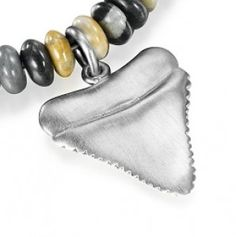 Reef Jewellery - Silver Sharks Tooth Pendant on Picasso Jasper Bead Necklace - Scuba Diving