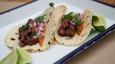 Skirt Steak Asada Tacos recipe from Mario Batali Authentic Mexican Tacos, Skirt Steak Tacos, Asada Tacos, Mexican Food Recipes, Ethnic Recipes, Group Recipes, Mexican Dishes, Italian Recipes, Beef Recipes