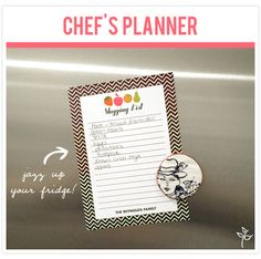 Personalized notepad for chefs