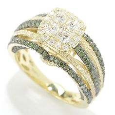 Gems of Distinction™ by Pamela McCoy, 14K Green Gold 1.70ctw Green & White Diamond Tiered Ring  Terrific tiers of sparkle! Crafted in 14K green gold, this ring starts with a circle of diamonds at its center that is haloed with diamonds set in a rounded square shape. The shank is split into five bars of gold set east-west covered with alternating rows of white and green diamonds. The multi tiered design of the ring showcases the split portions with additional detailing on the north and south…