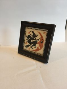 Witch and Moon, a Vintage Halloween Cross stitch