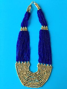Navy Blue and Golden Bead Necklace