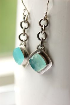 ON SALE Trendy Earrings in a Classic Style with Eye Catching Sea Foam Chalcedony Popular Jewelry Gift. $74.00, via Etsy.