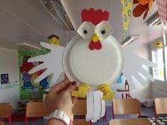 Hen(chicken) crafts This page has a lot of hens, chicken, handprint crafts for kids, parents, teachers.Read this funny story at the beginning of the lesson [. Easter Art, Easter Crafts For Kids, Toddler Crafts, Paper Plate Crafts, Paper Plates, Craft Activities, Preschool Crafts, Chicken Crafts, Hen Chicken