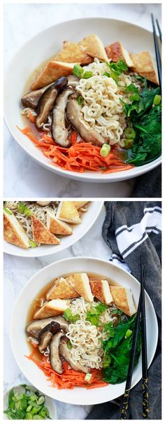 Quick and easy healthy vegan ramen recipe. How to make vegetarian and vegan homemade ramen with tofu, spinach, and mushrooms.