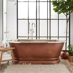 Find Your Zen: 19 Spa Bathroom Ideas Copper Tub, Hammered Copper, Antique Copper, Copper Bathroom, Boho Bathroom, Black Tub, Black Bathtub, Pedestal Tub, Pedestal