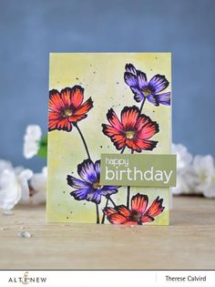 Simple yet beautiful cosmos - that's what you'll get in this stamp set. Start creating a whole garden of stunning cosmos with this floral stamp set. Flower Stamp, Flower Cards, Birthday Sentiments, Birthday Cards, Altenew Cards, Happy Birthday Greetings, Diy Scrapbook, Scrapbooking, Paper Cards