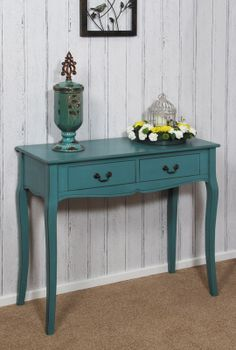Antique Blue 2 Drawer Console Table #Furniture #ConsoleTable