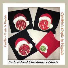 Embroidered Christmas T-Shirts #christmas #christmasoutfit #christmasgift #christmasfamilyphoto #photographer #santahelper #embroidery #embroidered #embroideredmonogram #monogram #monograms #monogrammed #personalized #customized #custommade #cynthiascraftsinvirginia #etsyelite #yesbbb