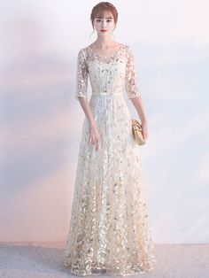 Champagne Evening Dress Sash Mother Of The Bride Dresses Round Neck Half Sleeve Lace A Line Floor Length Occasion Dresses Lace Evening Gowns, Formal Evening Dresses, Prom Dresses, Bride Dresses, Formal Gowns, Dress Sash, Groom Dress, The Dress, Dress Long