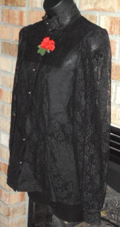 Womens Vintage Black Goth Lace Victorian Style Sheer Long Sleeve Steampunk Blouse Deadstock NWT 14. $35.00, via Etsy.