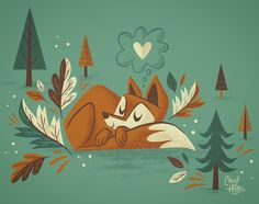 "745 kedvelés, 18 hozzászólás – Caley Hicks (@thechicks914) Instagram-hozzászólása: ""Sleepy fox  #illustration #myillustration #fox #foxes #cute #fall #autumn #november…"""