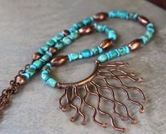 SALE Hill Tribe Copper Pendant Necklace Organic door CatchingWaves