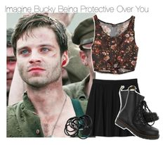 """Imagine Bucky Being Protective Over You"" by fandomimagineshere ❤ liked on Polyvore featuring Sebastian Professional, Monki, Dr. Martens, American Eagle Outfitters and H&M"