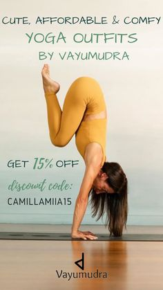 Comfy, affordable, and cute yoga outfits by vayumudra. Super soft, second skin feel when wearing yoga leggings and yoga bras from their N-a-k-e-d collection. Shop now with 15% off using discount code: CAMILLAMIIA15. Yoga fashion outfits from the popular yoga clothes  athletic wear brand @vayumudra . Made to be super comfortable and undistracting when you practice yoga.  #yogaclothes #yogadiscount #yoga #yogapractice #homeyogapractice Yoga promo code, yoga discount code.