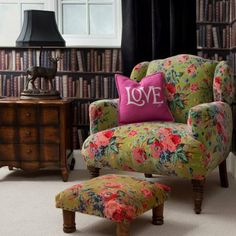 floral chair with foot stool and love pillow