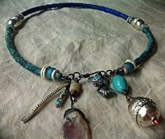 Persian gypsy blue silk and silver necklace with amethyst, silver Ethiopian and glass beads